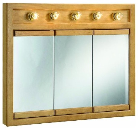 Richland Nutmeg Oak Lighted Tri-View Wall Cabinet Mirror with 3-Doors - Modern - Medicine ...