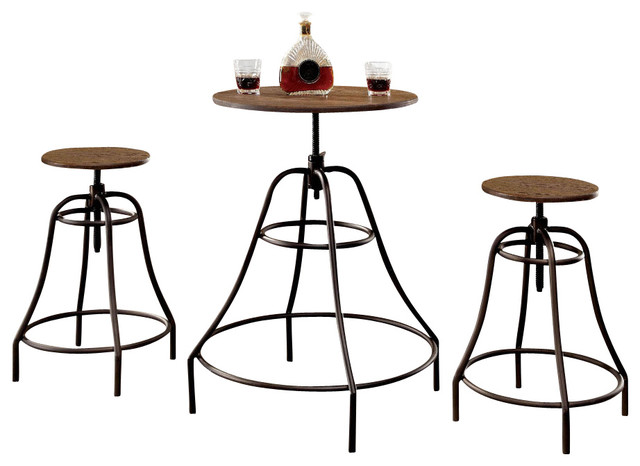 pin spectrum 3pc pub table set 24 round black with chrome 2