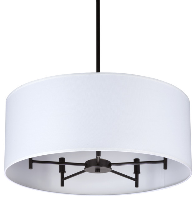 Walker 5 Arm Chandelier Drum In Oil Rubbed Bronze Finish With Gold Organza Shade
