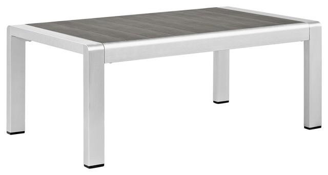 Modern Contemporary Urban Design Outdoor Patio Coffee Table, Gray Gray, Aluminum.