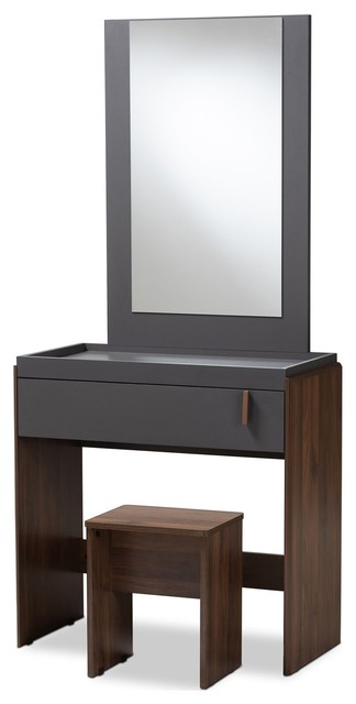 Baxton Studio Rikke Two-Tone Gray and Walnut Wood Bedroom Vanity With Stool