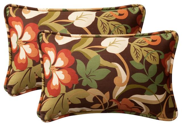 Pillow Perfect Brown/green Coventry Rectangular Toss Pillows, Set Of 2.