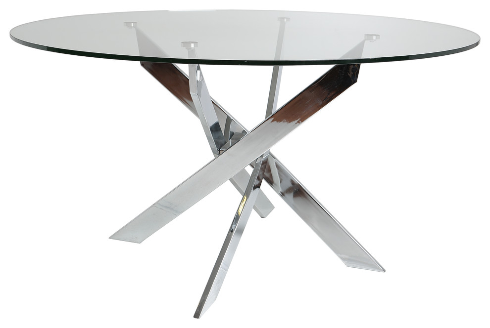 Round Cross Leg and Glass Coffee Table - Contemporary ...