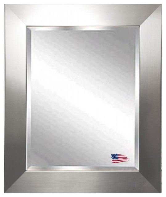 Beveled Wall Mirror american made silver wide beveled wall mirror - contemporary