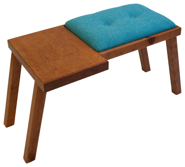 The Raymond Bench Cherry With Dark Blue Wool Tweed Midcentury Upholstered Benches By