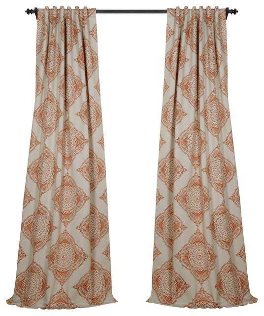 Henna Orange Blackout Curtain, Set Of 2, 50x120.