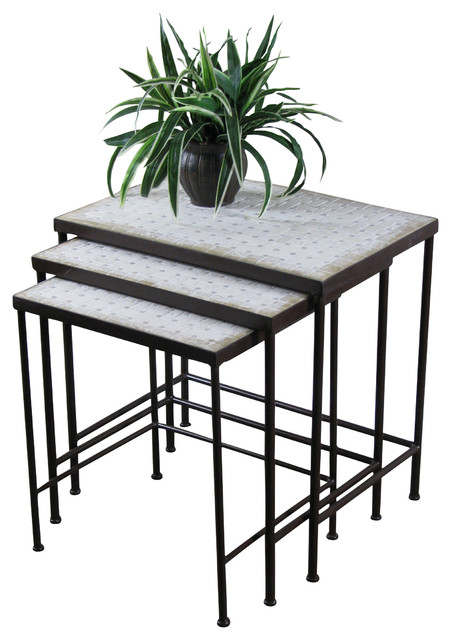 3 Piece Travertine Nesting Tables Industrial Coffee Table Sets