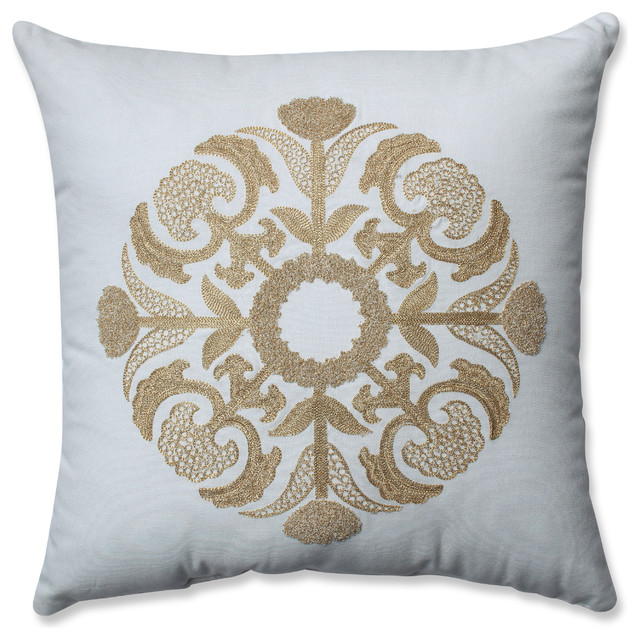 Glamour Medallion GoldWhite 4040 Throw Pillow Transitional Cool White And Gold Decorative Pillows