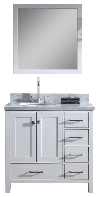 "Ariel Cambridge 37"" Single Sink Vanity Set With Left Offset Sink, White."
