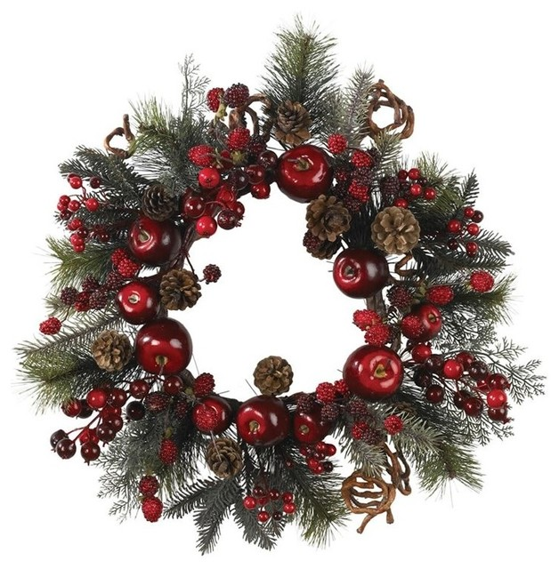 """Nearly Natural 22"""" Apple Berry Wreath."""