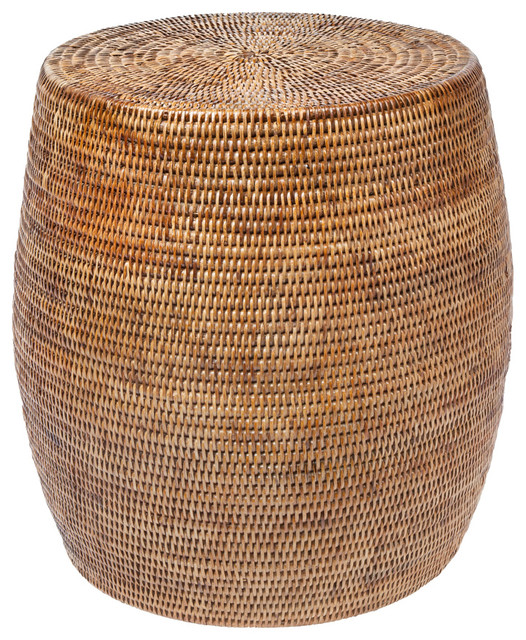 Laguna Round Rattan Stool Honey Brown beach-style-footstools-and-ottomans  sc 1 st  Houzz & Laguna Round Rattan Stool / Side Table Handwoven White Wash ... islam-shia.org
