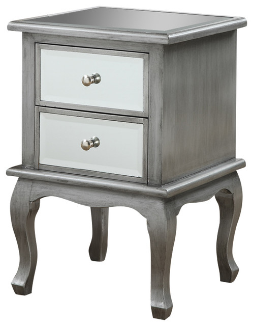 Gold Coast Queen Anne Mirrored End Table, Silver Oak Transitional Side  Tables