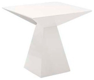 Eurostyle Tad Pedestal Square Side Table In White Lacquer Modern Side Tables  And