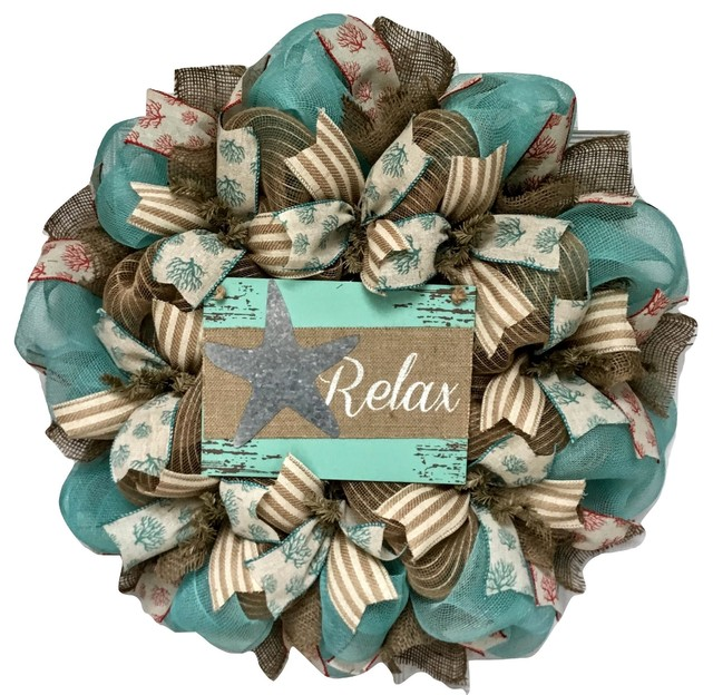 Relax Beach Wreath With Tin Starfish Handmade Deco Mesh.