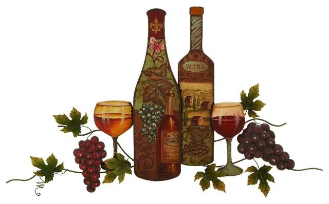 Metal Wall Art Statue Vintage Bottle Glassware Grape Vine Kitchen Decor 52362 Traditional Metal