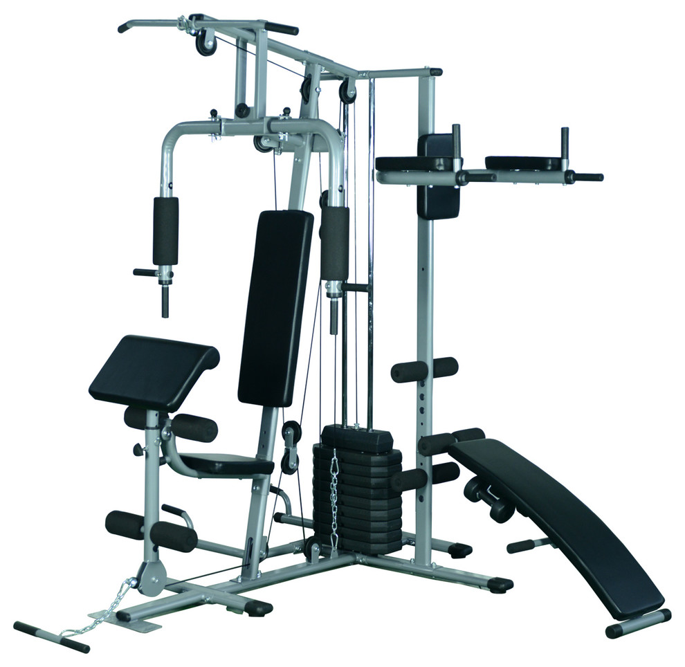 Soozier Complete Home Fitness Station Gym Machine With 100 lb Stack - Contemporary - Home Gym ...
