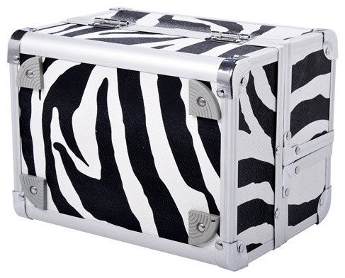 Soozier Mirrored Mini Professional Makeup Case With Pull-Out Tray, Zebra Print.