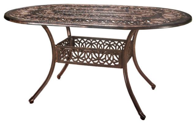 Gdf Studio Outdoor Cast Aluminum 6, Oval Outdoor Dining Table
