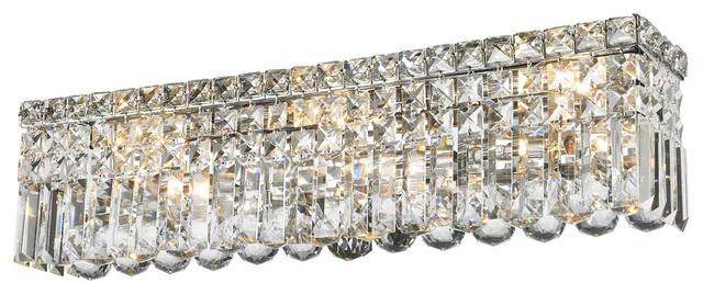 Contemporary 6 Light Chrome Finish, Crystal Bathroom Vanity Light