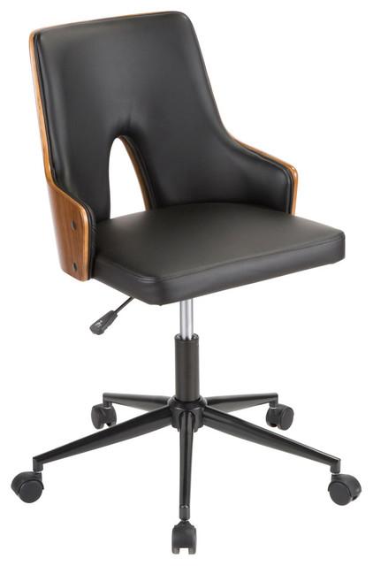 LumiSource Stella Office Chair, Walnut Wood and Black PU Leather