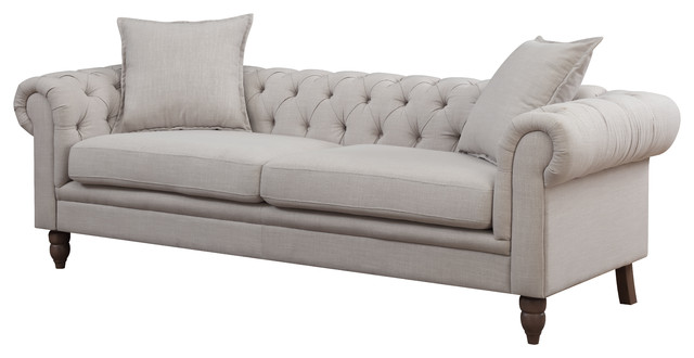 Juliet Linen Fabric Button Tufted Chesterfield Sofa Traditional