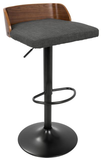 Miraculous Lumisource Maya Adj Barstool Walnut And Charcoal Evergreenethics Interior Chair Design Evergreenethicsorg