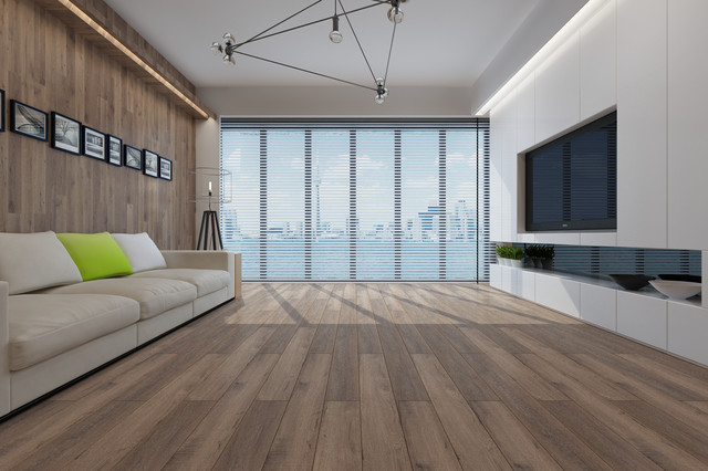 Dekorman Villa Ac3 Laminate Flooring, 17.68 Sq. Ft., Smoke Oak.