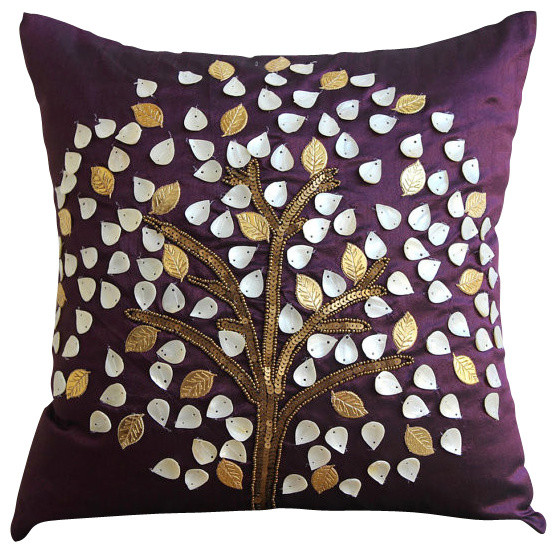 The HomeCentric Purple Mother Of Pearls Tree Silk Throw Pillows Cover, Plum Hope Tree ...