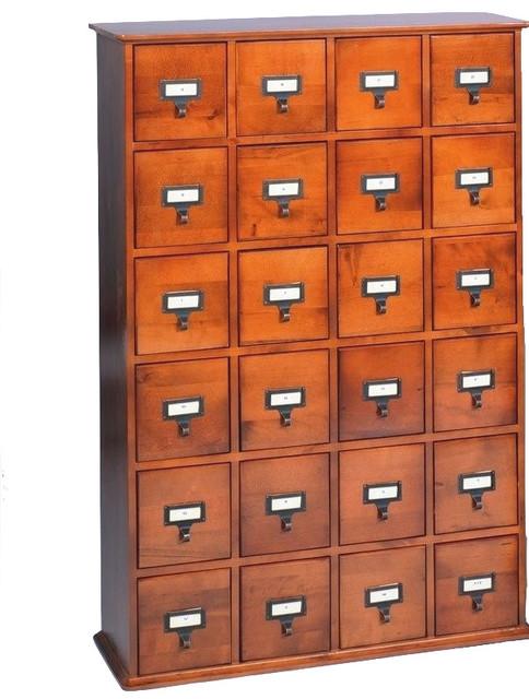 Leslie Dame 24 Drawer CD Media Storage Cabinet, Walnut Traditional Media  Storage