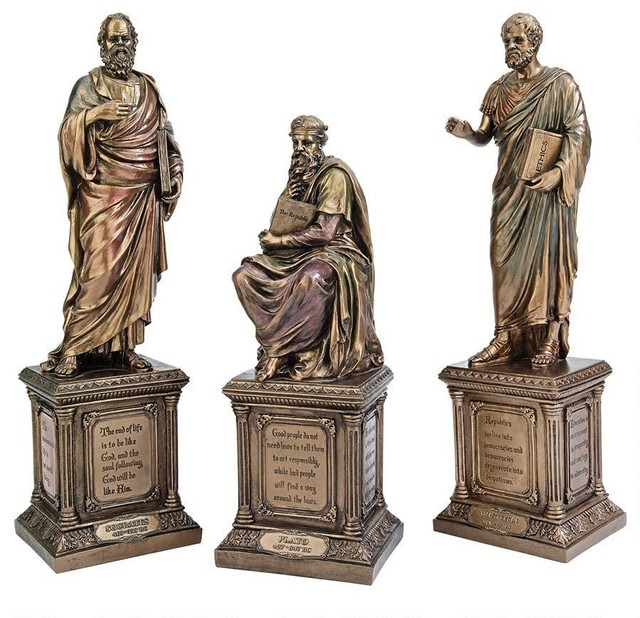 Bronze finish greek plato socrates aristotle statues traditional decora - Statue decorative interieur ...