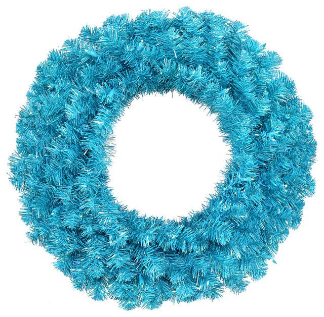 "24"" Pre-Lit Sparkling Sky Blue Artificial Christmas Wreath, Teal Lights."