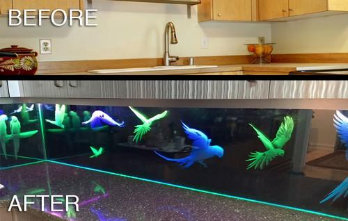 U0027Parrotsu0027 Custom Glass LED Kitchen Backsplash