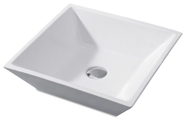 "Modern Square L-006 Ceramic Bathroom Vessel Sink, 21"", Without Drain"