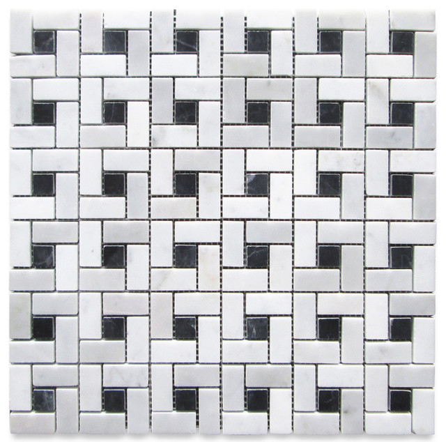 "12""x12"" Carrara White Target Pinwheel Windmill Spiral Mosaic Black Dots Polished"