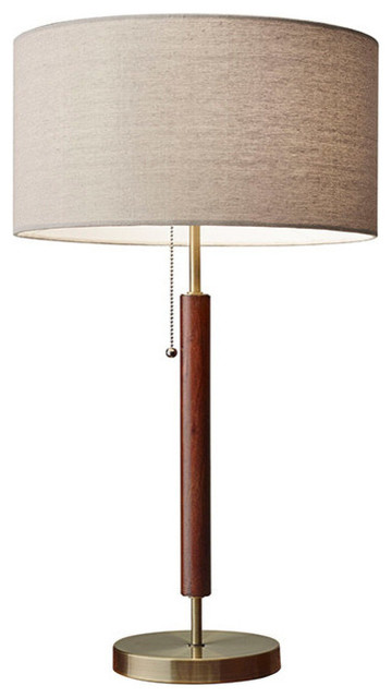 Hamilton 1Light Table Lamps in Walnut and Antique Brass