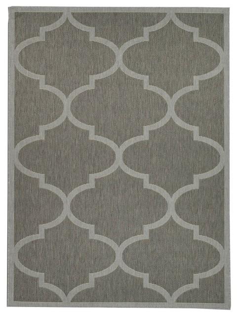 """Jardin Moroccan Indoor/outdoor Jute Backing Area Rug, Dark Gray, 5&x27;3""""x7&x27;3""""."""