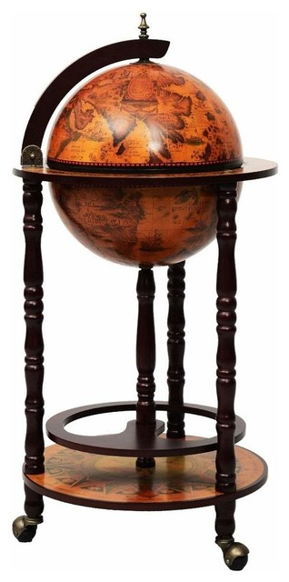 Traditional Globe Drink Cabinet With Solid Wood Frame and 3 Castor Wheels
