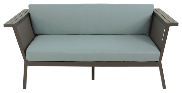 Riviera Gray Geo Loveseat With Sunbrella Red Cushions.