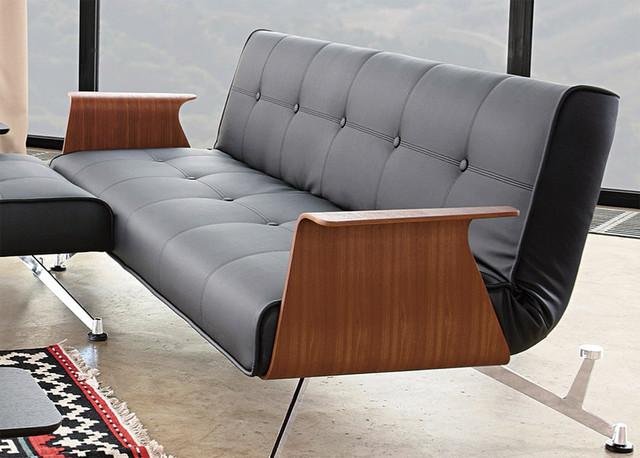 innovation usa clubber 03 black leather textile sofa walnut arms modern new. Black Bedroom Furniture Sets. Home Design Ideas