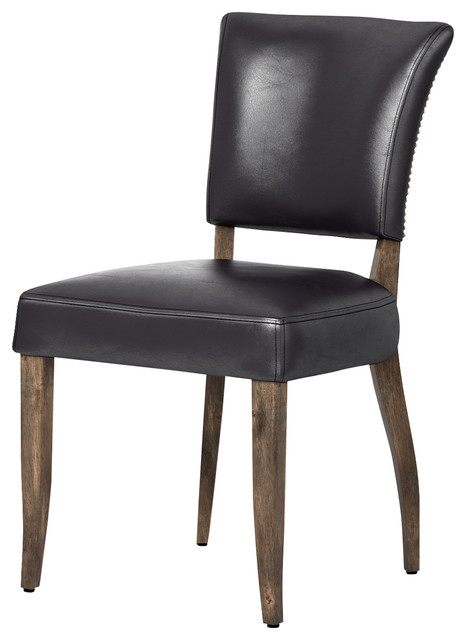 Kathy Kuo Home Melba Modern Classic Brown Leather Dining