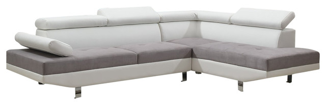2 Piece Modern Contemporary 2 Tone Faux Leather Sectional Sofa, White/Gray