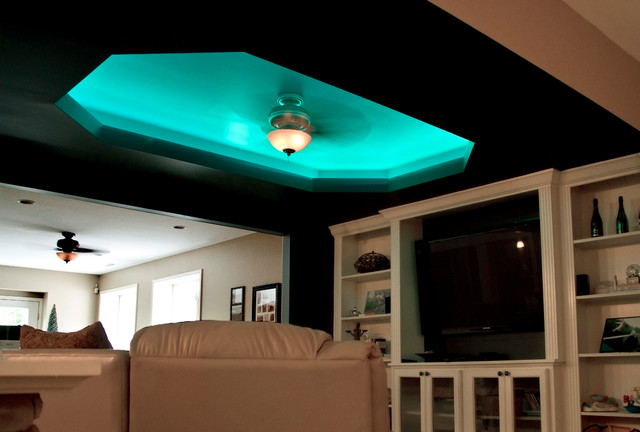 led color changing ceiling cove lighting eclectic living room - Living Room Ceiling Colors