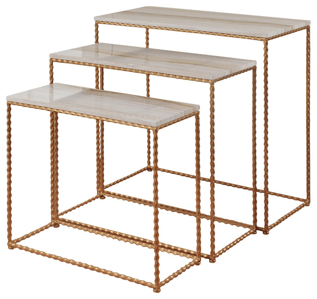 Nested Petite Console Set, Gold Powder Coated Finish, Faux Marble Tops.