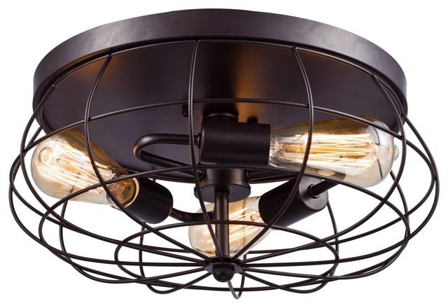 Oil Rubbed Bronze Flush Mount Ceiling Light, 3-Light.