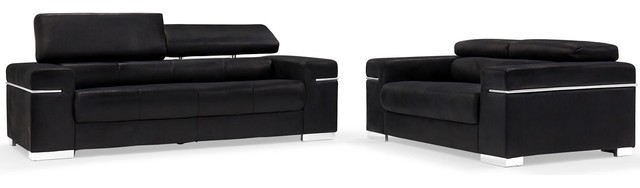Black Angelo Suede Sofa With Loveseat 2 Piece Set
