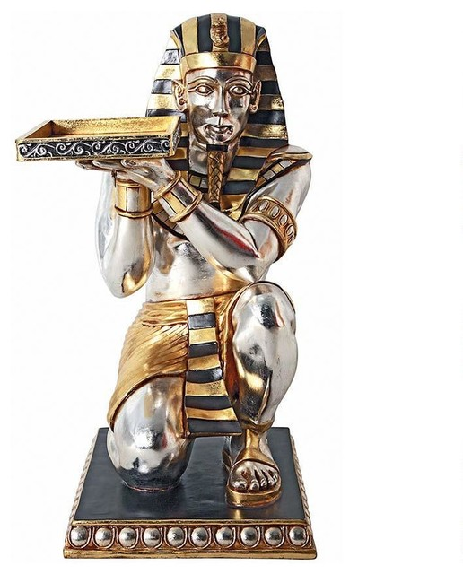 36 5 H Ancient Egyptian Pharaoh Kneeling Servant Statue Side Table Traditional Side Tables
