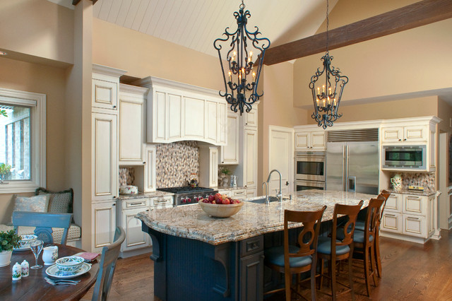 Traditional Kitchen With Vaulted Ceiling And Faux Wood Beams