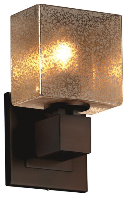 Era 1-Light Wall Sconce Rectangle Artisan Glass Shade in Ribbon Fusion Brushed Nickel Finish LED