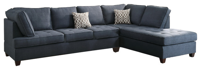 Modern Contemporary Sectional Sofa with Reversible Chaise, Navy Blue