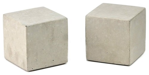 Cube Concrete Bookends, Natural